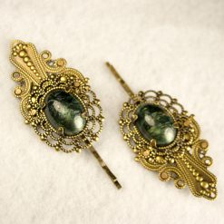 brass-marbled-green-resin-hair-bobby-pin-1
