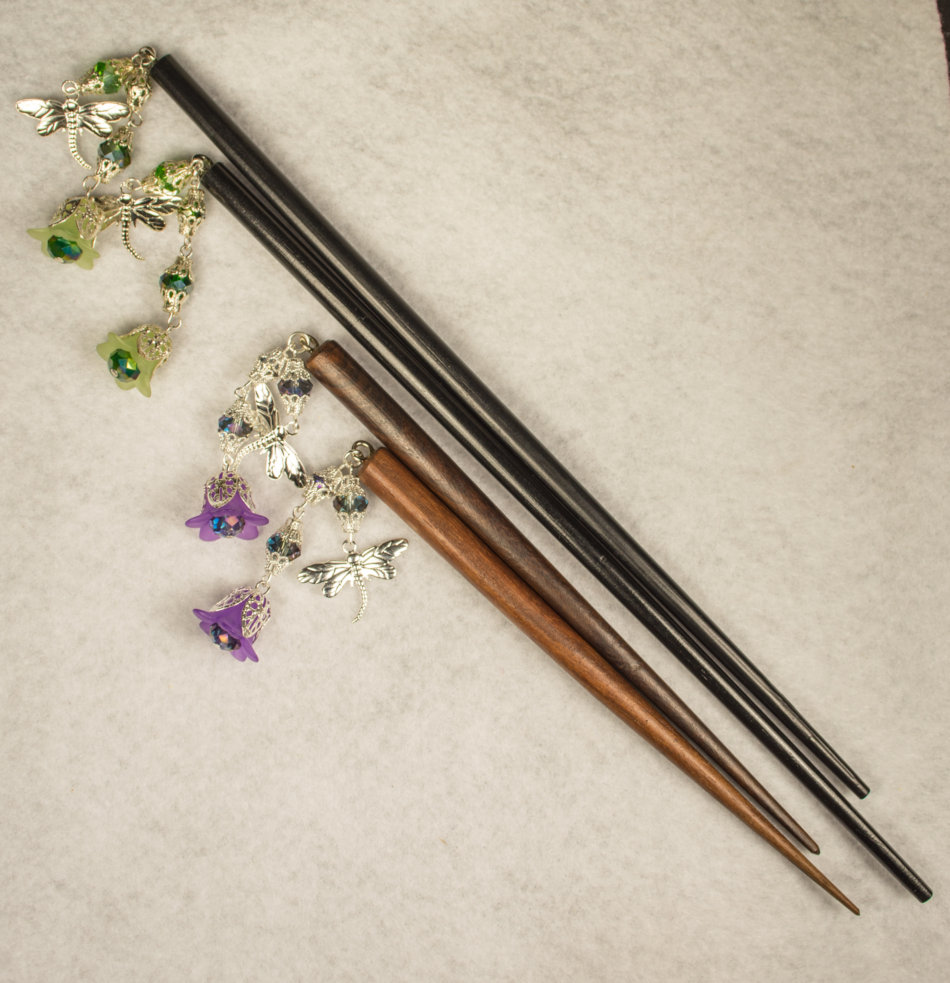 Dragonflies and Flowers Hair Sticks - A Case of Random