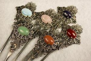 riveted filigree metal hair stick kanzashi set