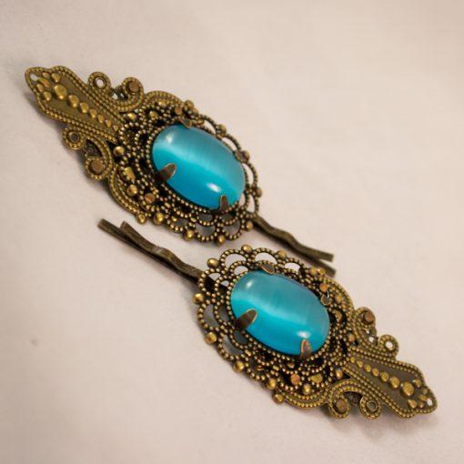 brass filigree bobby pins light blue cat's eye