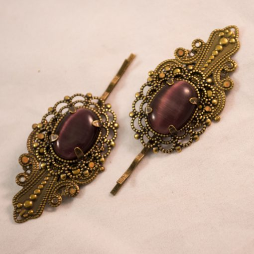 brass filigree bobby pins purple cat's eye