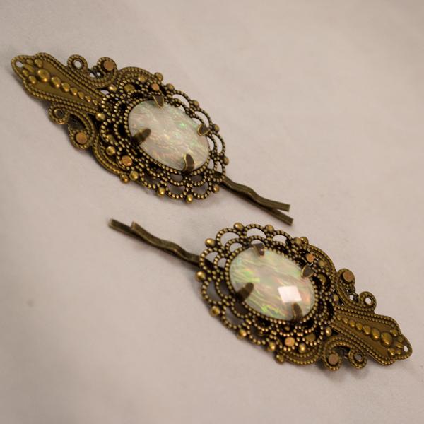 brass filigree bobby pins white resin opal