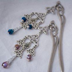 celtic knot hair stick blue purple angle