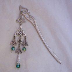 celtic knot hair stick emerald green