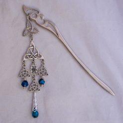 celtic knot hair stick metallig blue