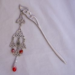 celtic knot hair stick red